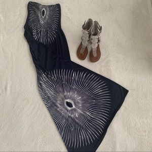 Dresses & Skirts - EUC Dark blue maxi dress, peacock feather design